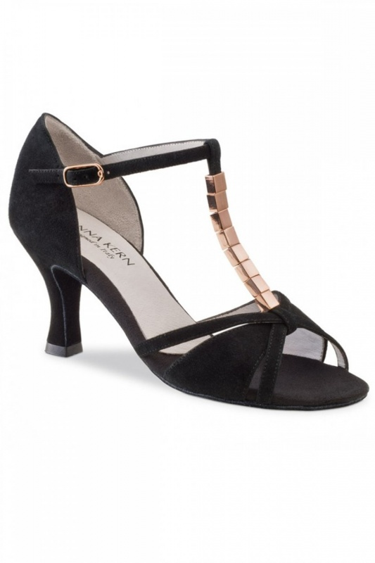 f90d1dba581aa4 Anna Kern Ladies  Black Suede Latin Sandal
