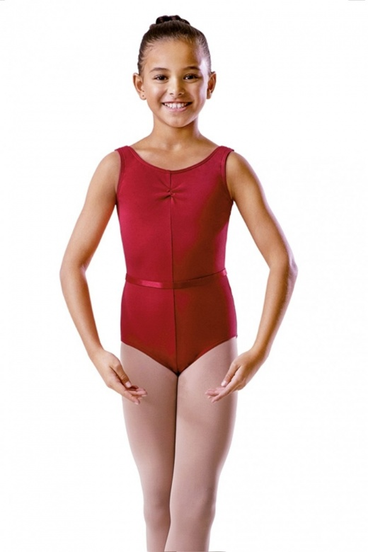 Bloch Cotton Ruche Front Exam Leotard with Belt