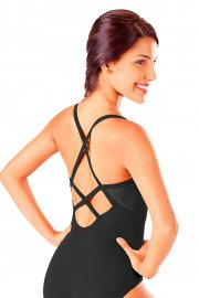 Camisole Mesh Leotard with Cross-Over Back Straps