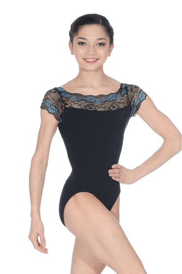 Cap Sleeve Lace Top Leotard