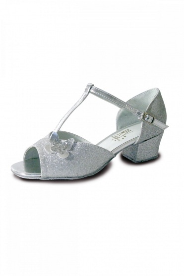Carrie Silver Girls' Ballroom Shoes with Butterfly