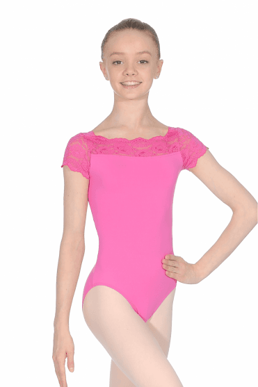 Childs Cap Sleeve Lace Top Leotard