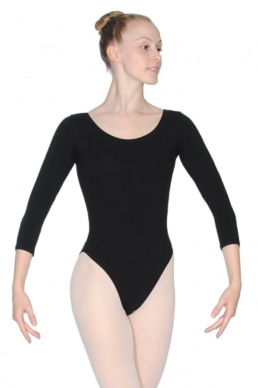 Cotton 3/4 Length Sleeve Leotard