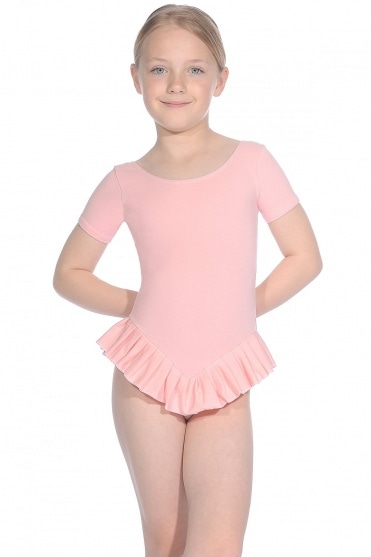 Cotton Short Sleeve Frilly Leotard