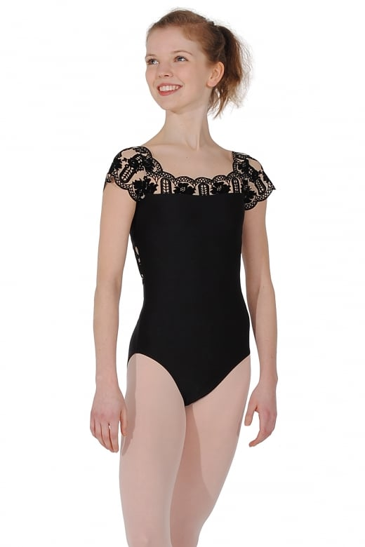 Wear Moi Emma Cap Sleeve Flocked Leotard