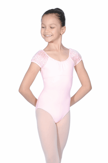Girls Diamante Puff Sleeve Leotard