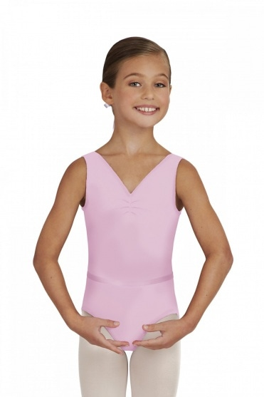 Girls' Tactel V Neck Leotard