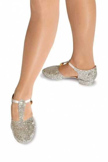 Glitter Greek Sandals with Suede Sole