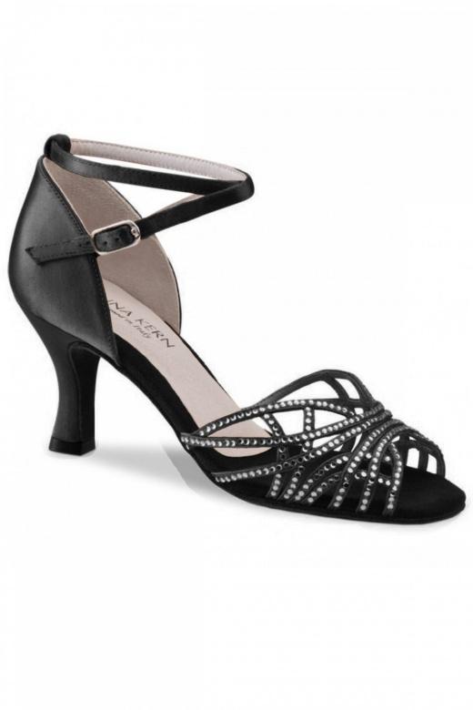 Anna Kern Ladies Black Satin Latin Sandals