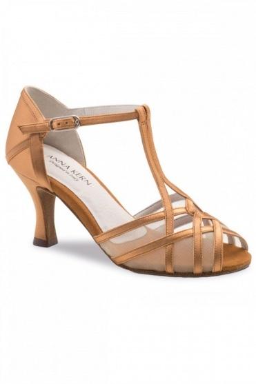 Ladies Bronze Satin Latin Sandals