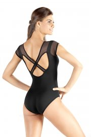 Ladies' Leotard with Mesh Cap Sleeves and Cross Over Straps
