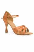 Port Dance Ladies' Satin Dance Shoes with Looping Vamp