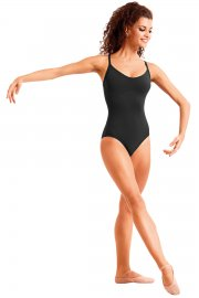 Ladies' Sleeveless Leotard with Cross-Over Diamante Straps