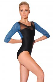 Lady 3/4 Sleeve Leotard with Mesh