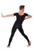 Dans-Ez Dancewear Men's Short Sleeve Unitard with Stirrup Leggings