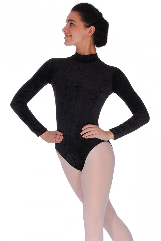 Roch Valley Jane Long Sleeve Crushed Velour Turtle Neck Leotard