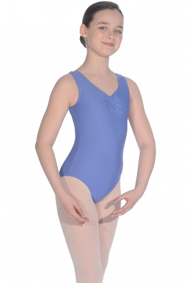 Sleeveless leotard with adjustable ruche
