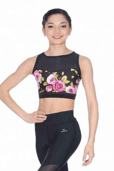Shaped Front Mesh Crop Top