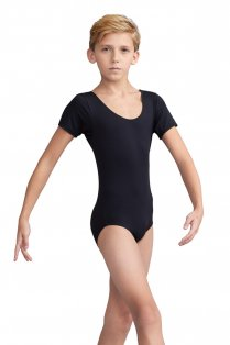 Short Sleeve Boys' Leotard with Round Neck