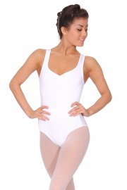 Sleeveless Leotard with Mesh Back and Cross-Over Straps