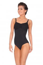 Sleeveless Striped Mesh Back Leotard