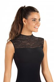 Sleeveless Turtle Neck Ladies' Leotard with Floral Lace