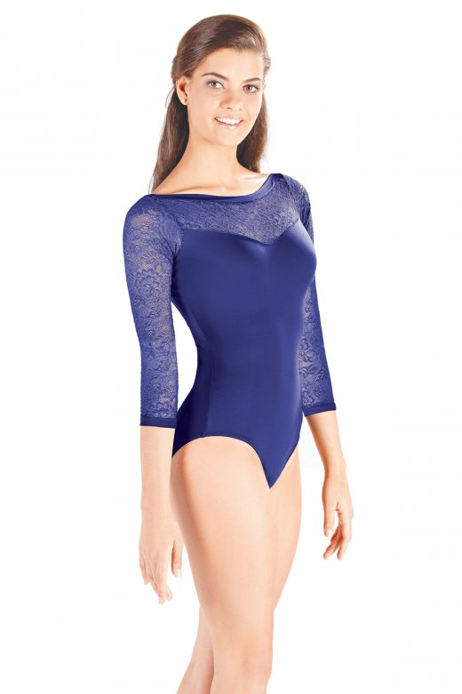 So Danca Ladies' Three-Quarter Length Sleeve Lace Leotard