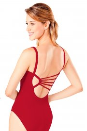 Low Back Leotard with Diamante Strap Detail
