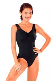 Sleeveless Mesh Leotard with Crossing Diamante Back Straps