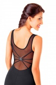 So Danca Sleeveless Mesh Leotard with Crossing Diamante Back Straps