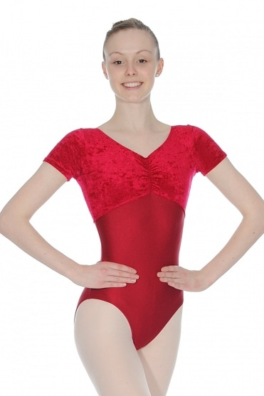 Teresa Short Sleeve Velour-Nylon/Lycra Leotard