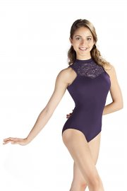 Turtle Neck Lace Leotard with Cut Out Back